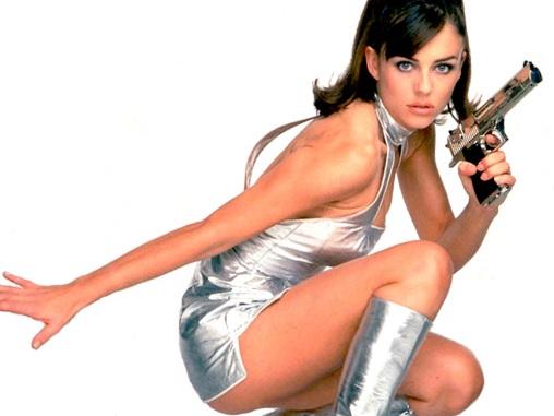 Actress Liz Hurley as secret agent Vanessa Kensington in the fil